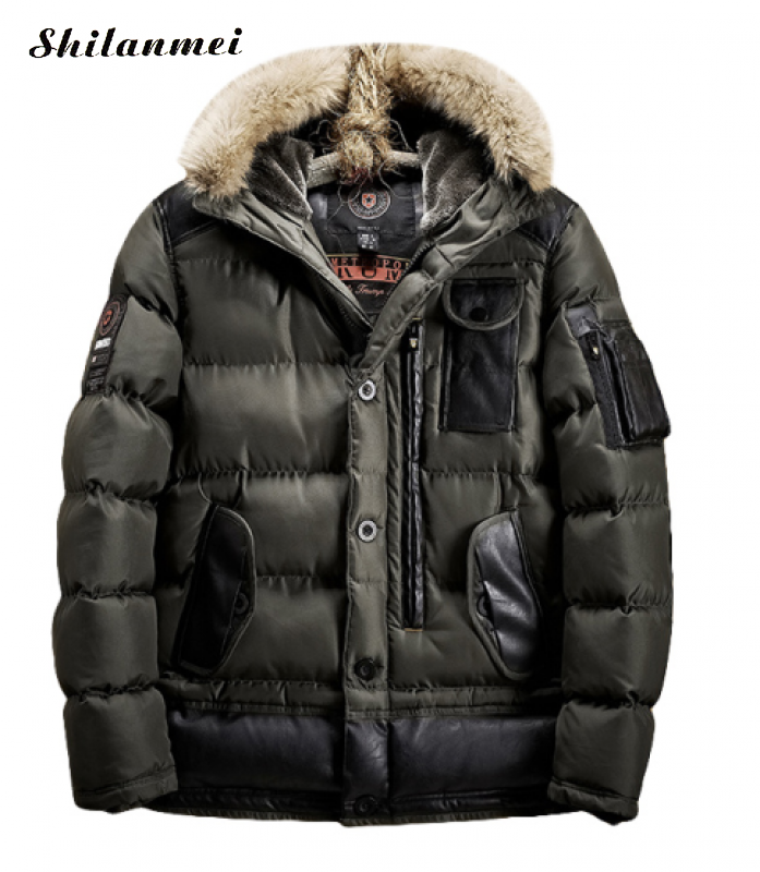 Men's Casual Fur Parkas Big Size Solid Army Green Winter Jacket Men Hooded Thick Padded Overcoat Man Jaqueta Masculino Inverno kromax pixis xl