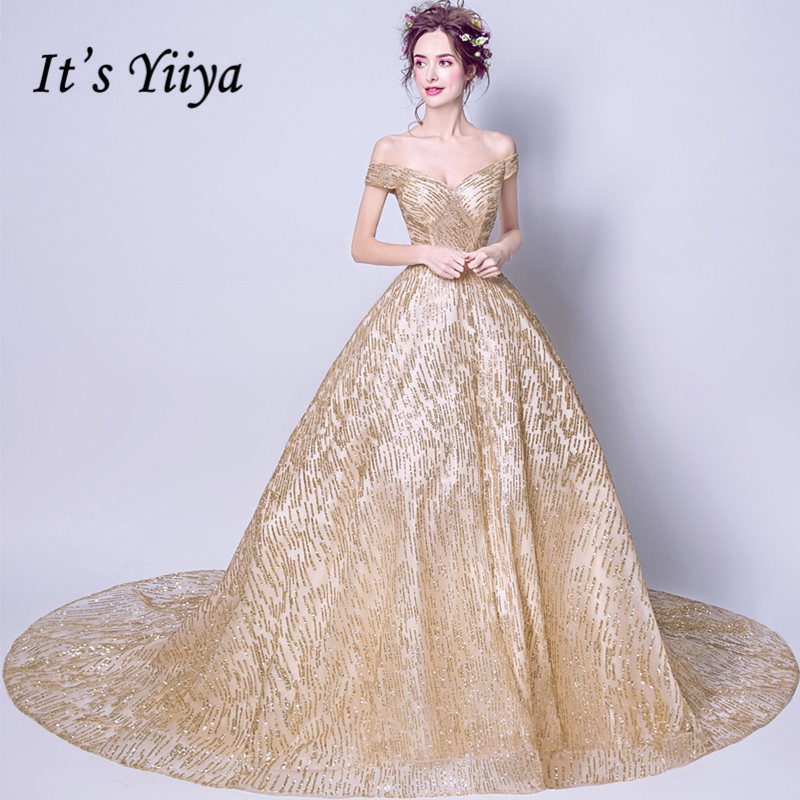 It's Yiiya Boat Neck Gold Luxury Evening Dresses Floral Bling Sequined Fashion Designer Floor Length Formal Dress LX296