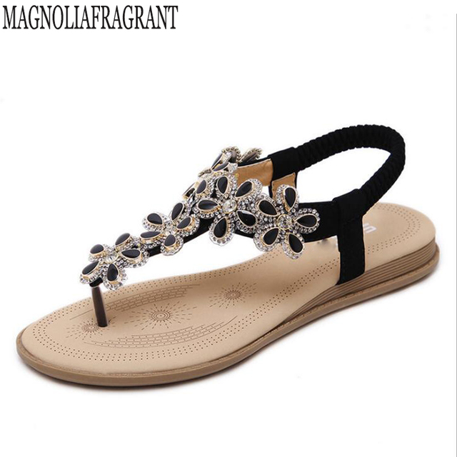 731cb27c090e4 2018 new Woman Sandals Women Shoes Rhinestones Flowers Chains Thong Gladiator  Flat Sandals Crystal Chaussure tenis feminino k236