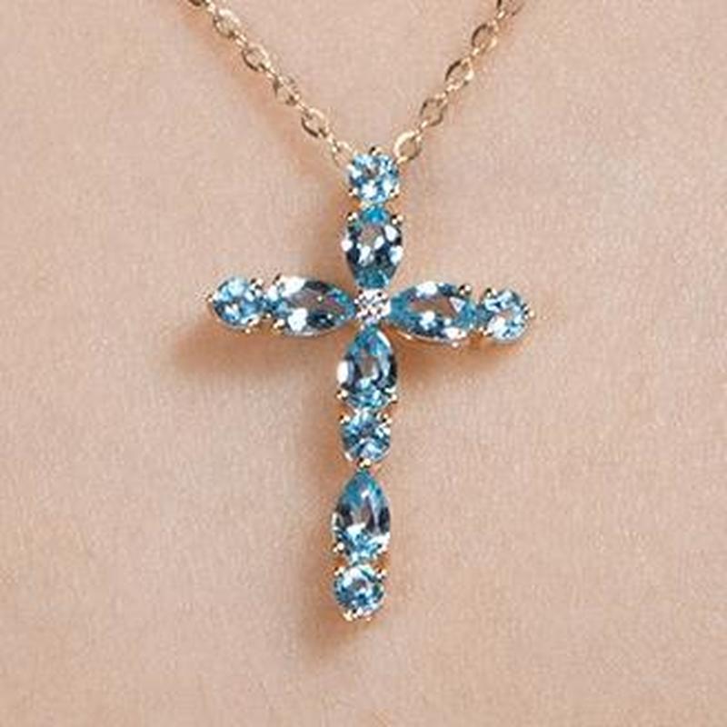 Männer Kristall Kreuz Anhänger Silber Gold Schwarz Zirkonia Halskette Zubehör