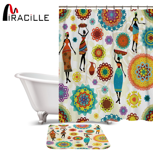 Miracille Hippie Style Waterproof Bathroom African Dance Women Print Shower Curtains Non Slip Bath Mat Set For Doormat Outdoor