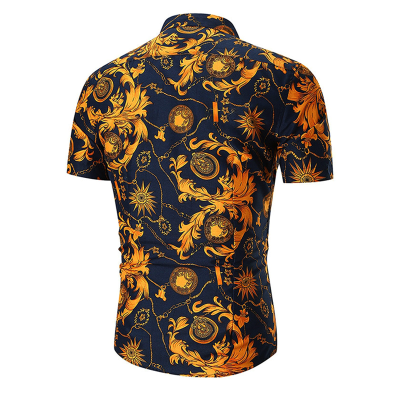 Мужская рубашка с коротким рукавом, гавайская, повседневная, с принтом, для пляжа, 2019