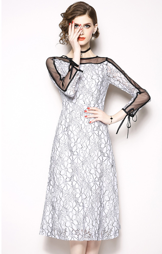 White Lace Women Sexy Hollow Out Mesh Tulle Vestidos Verano 2018 Summer Long Sleeve Dress Flower Embroidered Dresses Party