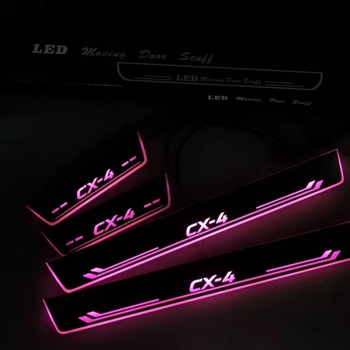 eOsuns LED moving door scuff Nerf Bars & Running Boards door sill plate overlays linings for mazda cx-4, moving light
