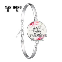 YANHONG Psalm Bracelet Glass Dome Charms Bracelet Bible Verse Quote Jewelry Gift For Christian AIC88 the lord is near all who call ont to him bible verse psalm quote key chain glass jewelry christian pendant keyring keychain gift