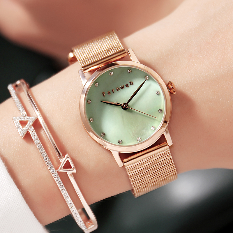 Luxury Pear Shell dial Ladies Watches Fashion Green Quartz Women Watch Rose Gold Milan Mesh Belt Waterproof Watch Reloj Mujer luxury pear shell dial ladies watches fashion green quartz women watch rose gold milan mesh belt waterproof watch reloj mujer