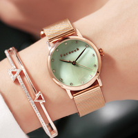 Luxury Pear Shell dial Ladies Watches Fashion Green Quartz Women Watch Rose Gold Milan Mesh Belt Waterproof Watch Reloj Mujer