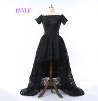 New Arrival 2017 Ball Gown Boat Neck Black Lace Hi Low Sexy Elegant Long Evening Dresses