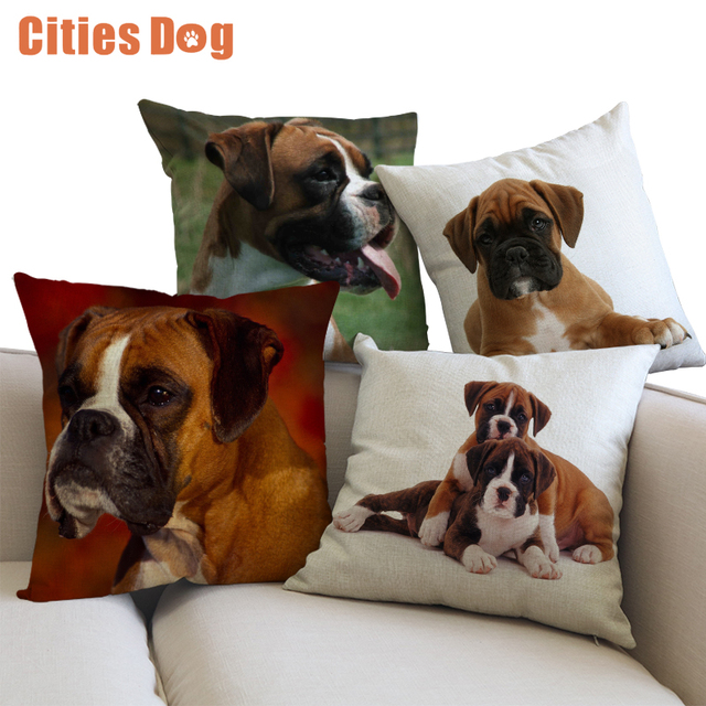 Decorative Cushion Animal Dog Pillows case cojines linen Boxer 45x45cm throw Car covers sofa Pillow Cushions cover