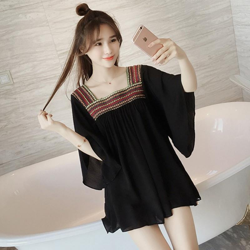 Yfashion Summer Chiffon Blouse Women Fashion New Lady Loose Embroidery Thin Blouses Casual Tops Blouse for Women Female in Blouses amp Shirts from Women 39 s Clothing