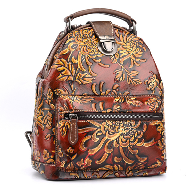 Women Natural Skin Rucksack Knapsack Embossed Brush Color Floral Pattern Travel Bag Retro Genuine Leather Backpack