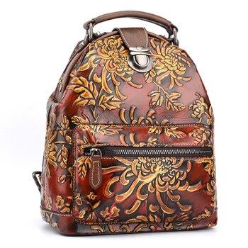 Women Natural Skin Rucksack Knapsack Embossed Brush Color Floral Pattern Travel Bag Retro Genuine Leather Backpack Daypack