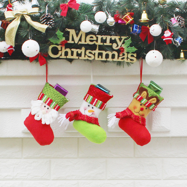 19cm Christmas Stocking Bright Color Sock Gift Bag Kids Decoration Candy Bauble
