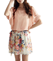 TFGS 2016 New Design Women Casual Dress Patchwork Crew Neck Round Colla Dress Short Sleeve Floral