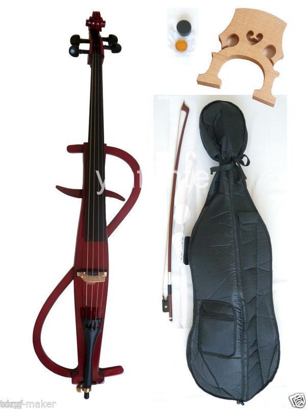 Free shipping 4/4 New Electric Cello Silent Powerful Sound Ebony Part Hand Carve 002208 4 string 3 4 new electric upright double bass finish silent powerful sound
