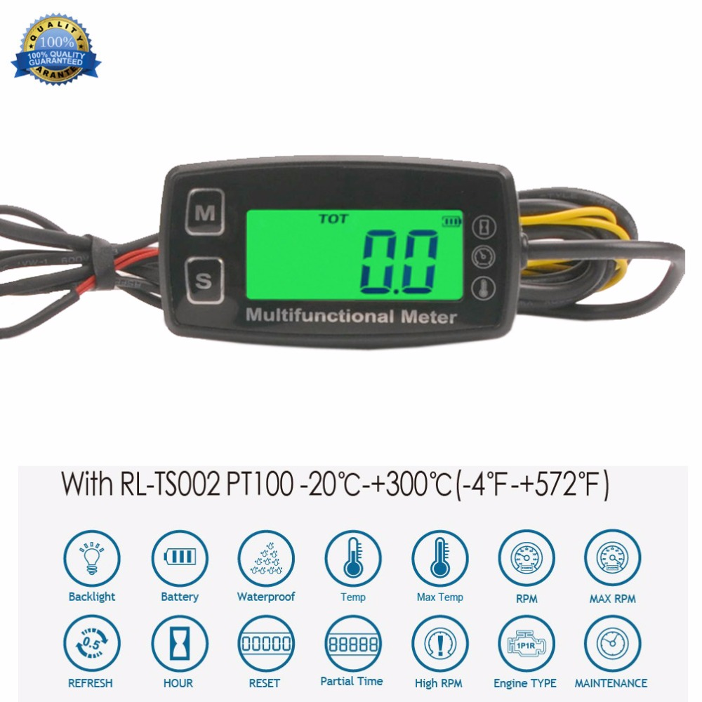 Digital LCD Tachometer Hour Meter Thermometer Temperature for Gas UTV ATV Outboard Buggy Tractor JET SKI Paramotor RL-HM035T ...