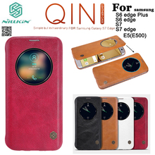 Nillkin Qin genuine real Leather Flip case cover For Samsung Galaxy S7 / S7 edge / S6 Edge Plus / E5 + Tempered Glass Screen