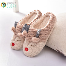 Christmas gift,2016 Winter Man women Lovely Deer Cotton Pantoufle Minion Home Indoor Female Plush Covered Animal Slippers
