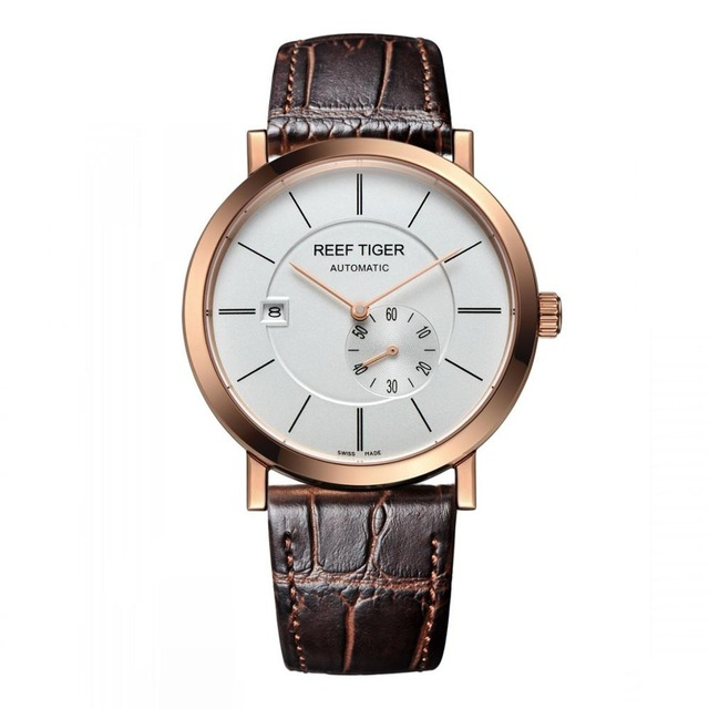 Reef Tiger Settle Serier RGA161 Men Business Business Fashion Ultra Thin Waterproof Automatic Mechanical Wrsit WatchReef Tiger Settle Serier RGA161 Men Business Business Fashion Ultra Thin Waterproof Automatic Mechanical Wrsit Watch