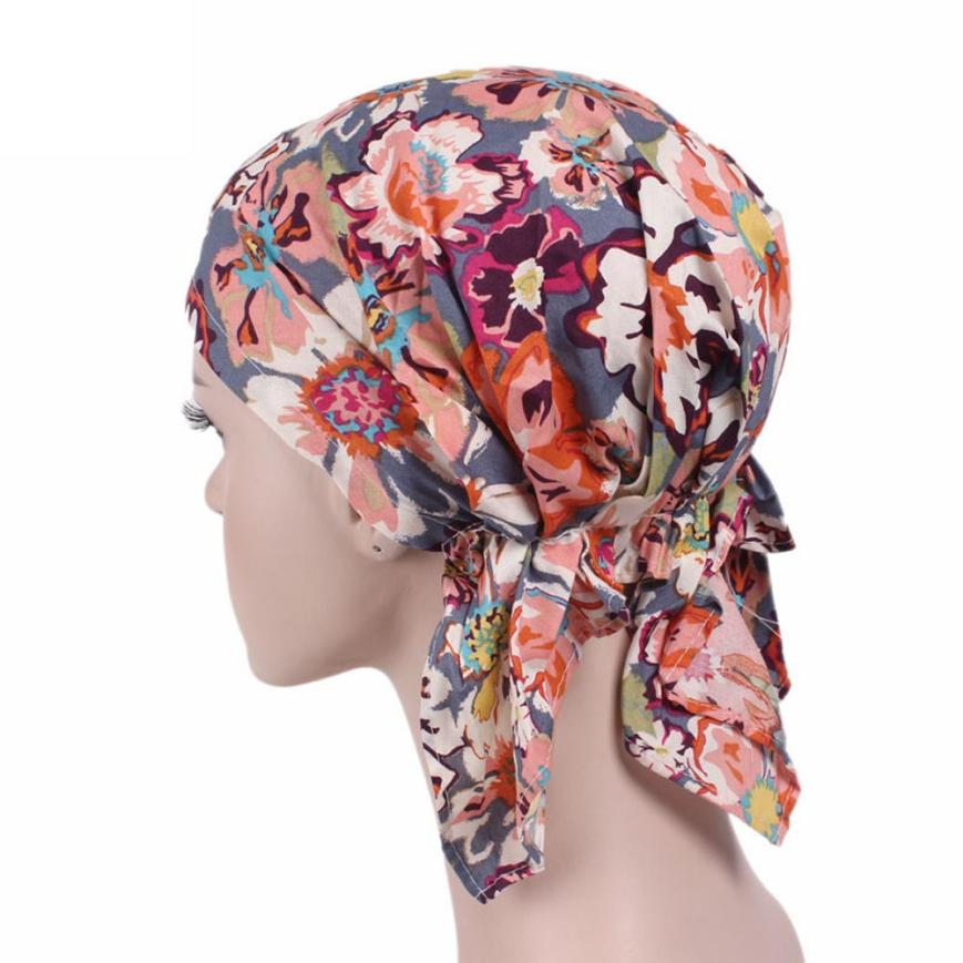 2017 1PC Fashion Women Cotton Ruffle Cancer Chemo Knitted hat Beanie Print Turban Head Wrap Cap New Arrive Hot Dropship Y8013 new cotton slouchy wrinkle cap double flower floral beanie hats for cancer chemo patients