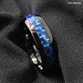 Черный купол Tungsten Ring with Blue silver Углеродного Волокна Обручальное кольцо мужские украшения Бесплатная Доставка