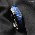 Dome Black Tungsten Ring with Blue silver Carbon Fiber Wedding Band Men's jewelry Free Shipping