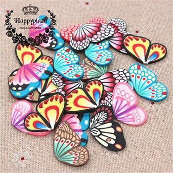30 Uds. Mezcla de patrones bonita arcilla polímero hecho a mano mariposa ala Flatback arte suministro DIY artesanía Decoración Accesorios, alrededor de 16*28mm