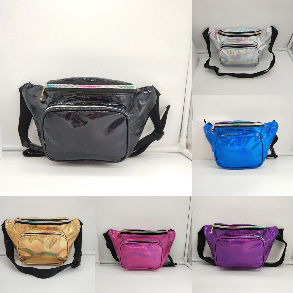 Waterproof Shiny Fanny Bag Large Capacity Wasit Bag Women Fashion Golden Pary Bags Sliver Messenger Shoulder Bag Chest Pack