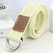 Double loop buckle canvas belt men and women with a common nylon cloth belt high quality material leisure fashion belt