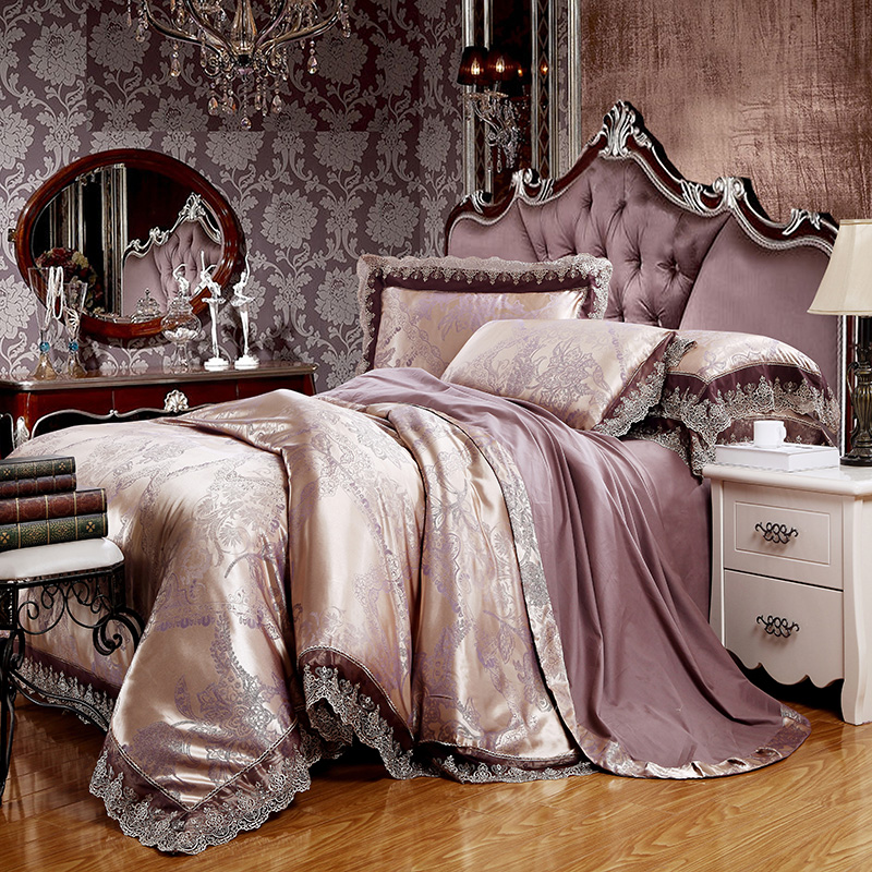 Papa&Mima Jacquard Bedlinen Queen King Size Lace Duvet cover Set Silk and Cotton Bedding SetsPapa&Mima Jacquard Bedlinen Queen King Size Lace Duvet cover Set Silk and Cotton Bedding Sets
