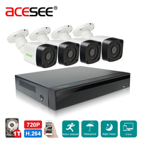Acesee H 264 4CH NVR Kit P2P 1080N Security Camera CCTV System 4pcs 720p HD IP
