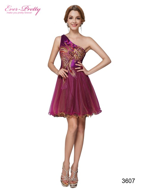 Cocktail Dress Party Ever Pretty HE03607 One Shoulder Purples Padded Embroidery Peacock Cocktail Dress 2016