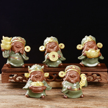 5PCS -Marvellous Spiritual ART  OFFICE home business SHOP Money Drawing God of wealth CAI SHEN Ge Yao kiln porcelain pottery ART