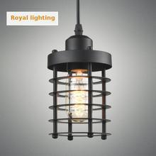 Edison retro de metal negro cocina Luminaria luz de Mar Mediterráneo E27 Hierro lámpara colgante pasillo Comedor Barra de Luz Pendientes