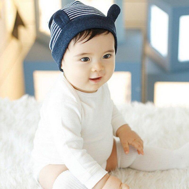 4M-12M Child Kids Newborn Baby Cotton Ears Stripe Cotton Baby Beanie Warm Hat Caps