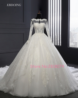 Real Photo Robe De Mariage Wedding Dresses Ball Gown Lace Ivory Boat Neck Custom Made Vestidos