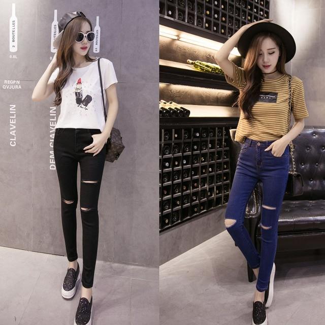 9b37d29840a Korean Autumn Winter Casual Slim Thin Hole Jean Femme Pant Ripped Jeans For  Women Waist Jeans Skinny Female Denim Pencil Pants