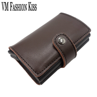 VM FASHION KISS Prevents RFID Leakage Bank Card Case Genuine Leather Mini Safe Aluminum Antimagnetic Credit