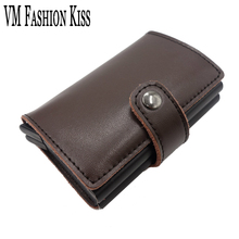 ФОТО vm fashion kiss prevents rfid leakage bank card case genuine leather mini safe aluminum antimagnetic credit card wallet box