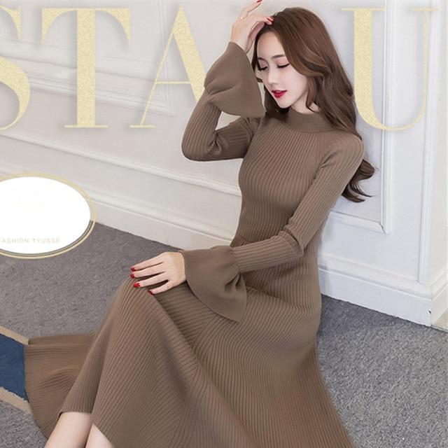 87ab586b7f0 2018 New Autumn Winter Women s Sweater Dress Fashion Half Turtleneck  Trumpet Sleeves Pullover Korean Knitted Dress A1316