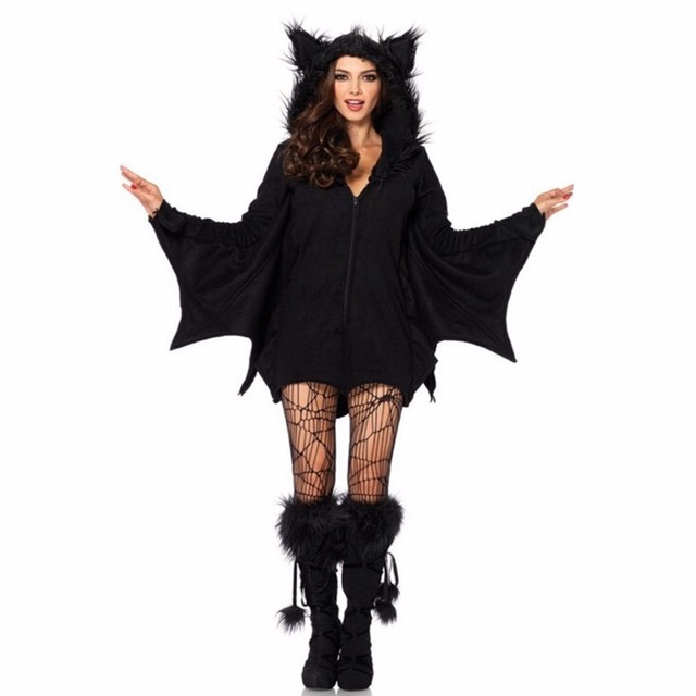 Vampire Halloween Costumes for women Black Evil Bat Cosplay Costume hooded  masquerade dresses girls clothes outfit Cos 102fdc064f66