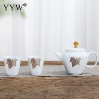 Maple Leaf Pattern White Tea Set Elegant Lady Lunch Teaware Exquisite Simple Teaware Home Kitchen Tea Set Mug Gift