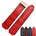 2016 NEW arrival 21*14mm Red leather and rubber buttom with Rose gold buckle watch straps for men and women Watch accessories