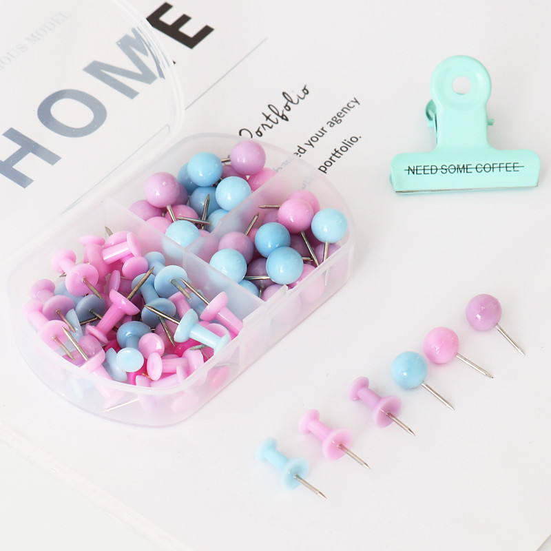 66PCS Mixed Pack Creative Colorful Map Tacks Push Pins Wall Bulletin Boards Thumb Tacks Decorative For Cork Board Home Office