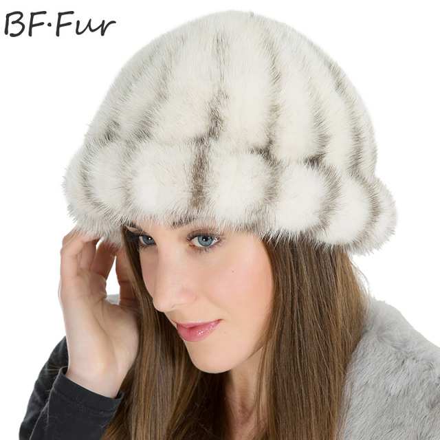 003727834d8 BFFUR White Real Mink Fur Animal Beanies Hats For Women Winter Warm Bonnet  Girls Adult Solid Color Round Cap Fashion for Female