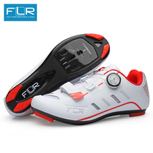 FLR cycling shoes road carbon road bike shoes men racing sneakers adult professional athletic breathable ultralight red white (China)