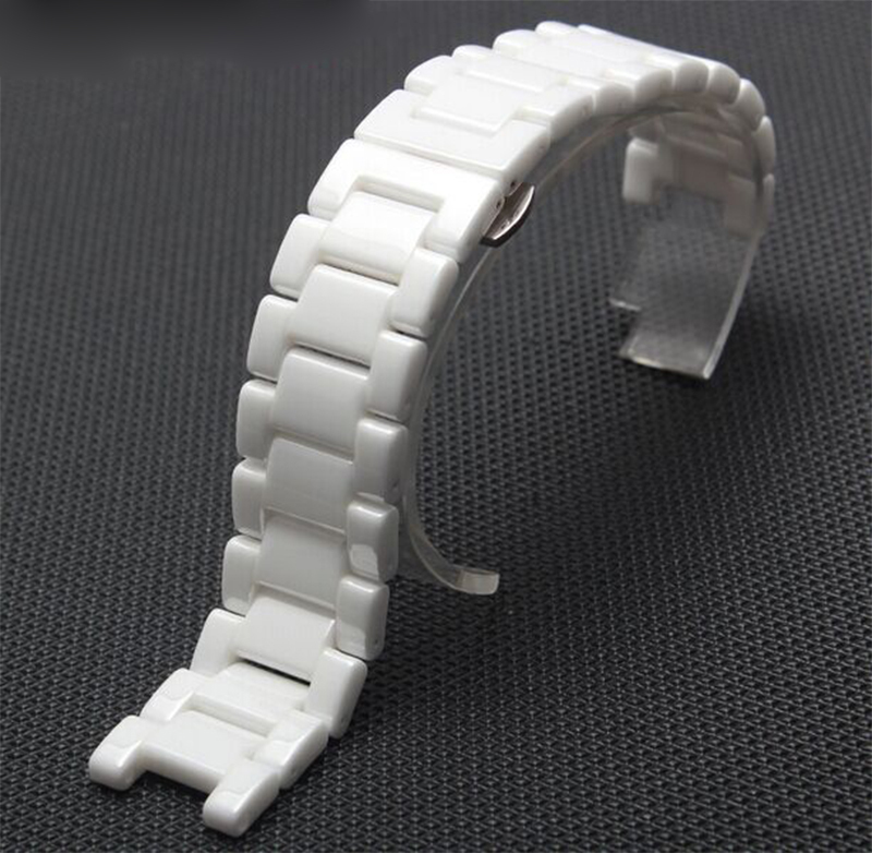 White Watchband Ceramic Watch Bands 20mm Strap Concave