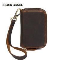 BLACK ANGEL Vintage Genuine Cow Leather Car Key Holder Men Double Zipper Key Housekeeper Coin Wallet