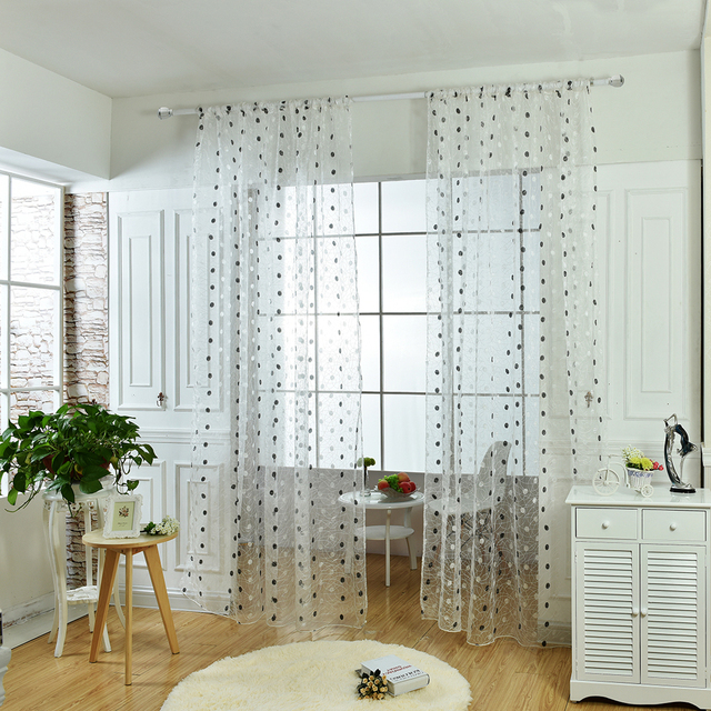 Small Fresh Style Embroidered Dot Bird Nest Window Panels Sheer Curtains Rod  Pocket Process
