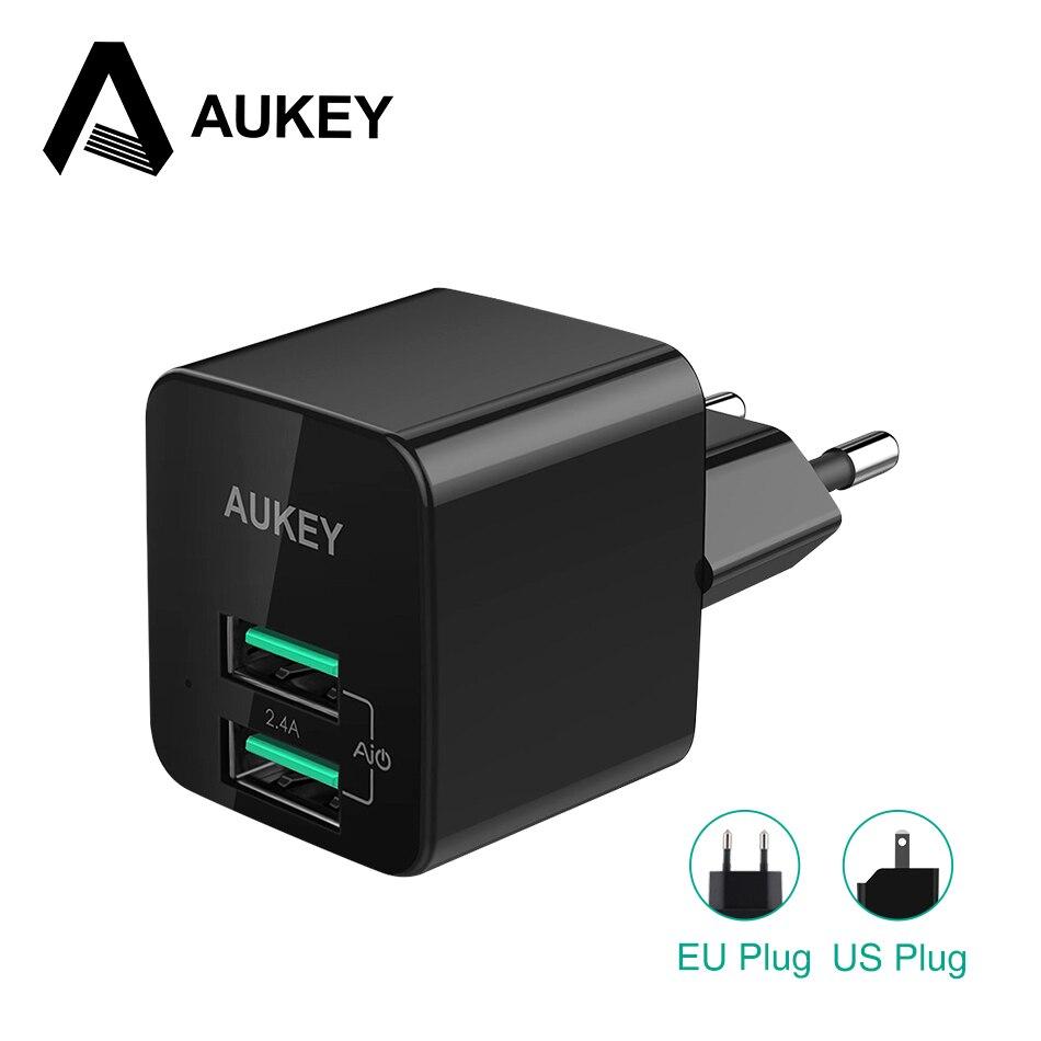 AUKEY Ultra Mini Schnelle USB Ladegerät 2.4A Universal Dual USB wand Ladegerät Handy-ladegerät Für iPhone iPad Samsung Xiaomi etc